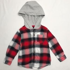 Oshkosh 24 Month Hooded Flannel Shirt Red/Black